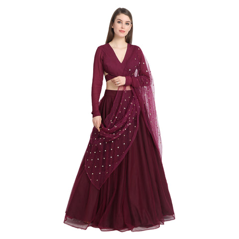 WINE NET LENGHA WITH WINE BACK KNOT BLOUSE AND CHUNNI