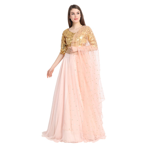 PEACH NET LENGHA WITH GOLDEN SEQUIN CROP TOP AND CHUNNI