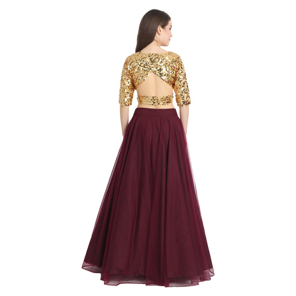 WINE NET LENGHA WITH GOLDEN SEQUIN CROP TOP AND CHUNNI