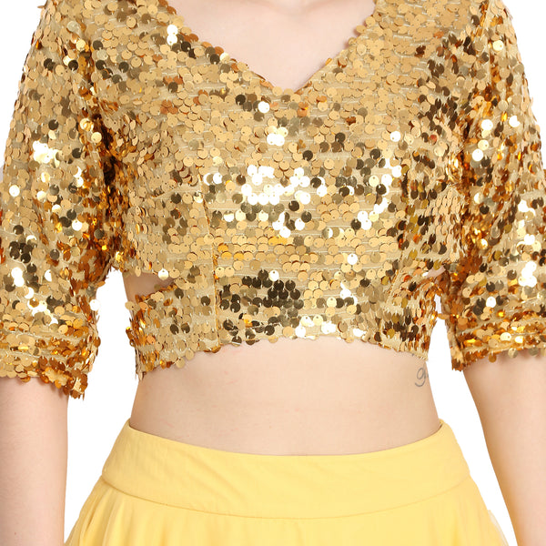 YELLOW NET LENGHA WITH GOLDEN SEQUIN CROP TOP AND CHUNNI