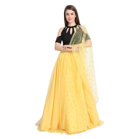 YELLOW NET LENGHA WITH BLACK KEYHOLE CROP TOP AND CHUNNI
