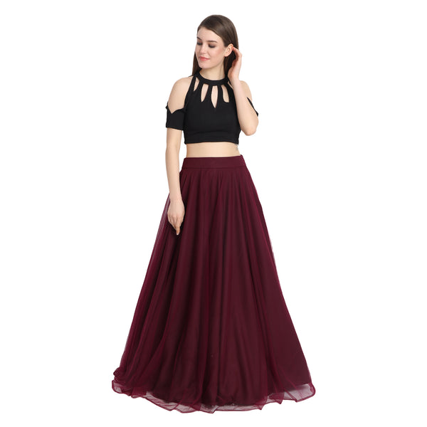 WINE NET LENGHA WITH BLACK KEYHOLE CROP TOP AND CHUNNI
