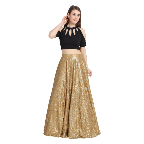 GOLDEN SEQUIN LENGHA WITH BLACK KEYHOLE CROP TOP WITH CHUNNI