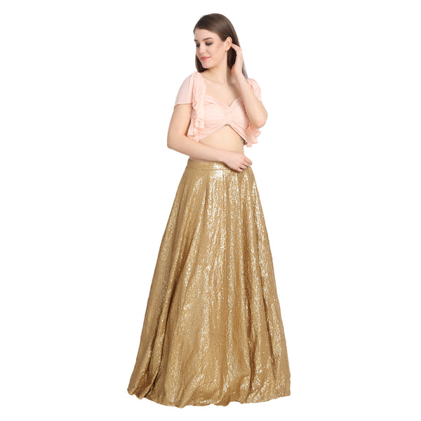 GOLDEN SEQUIN LENGHA WITH PEACH FRONT BOW CROP TOP AND CHUNNI