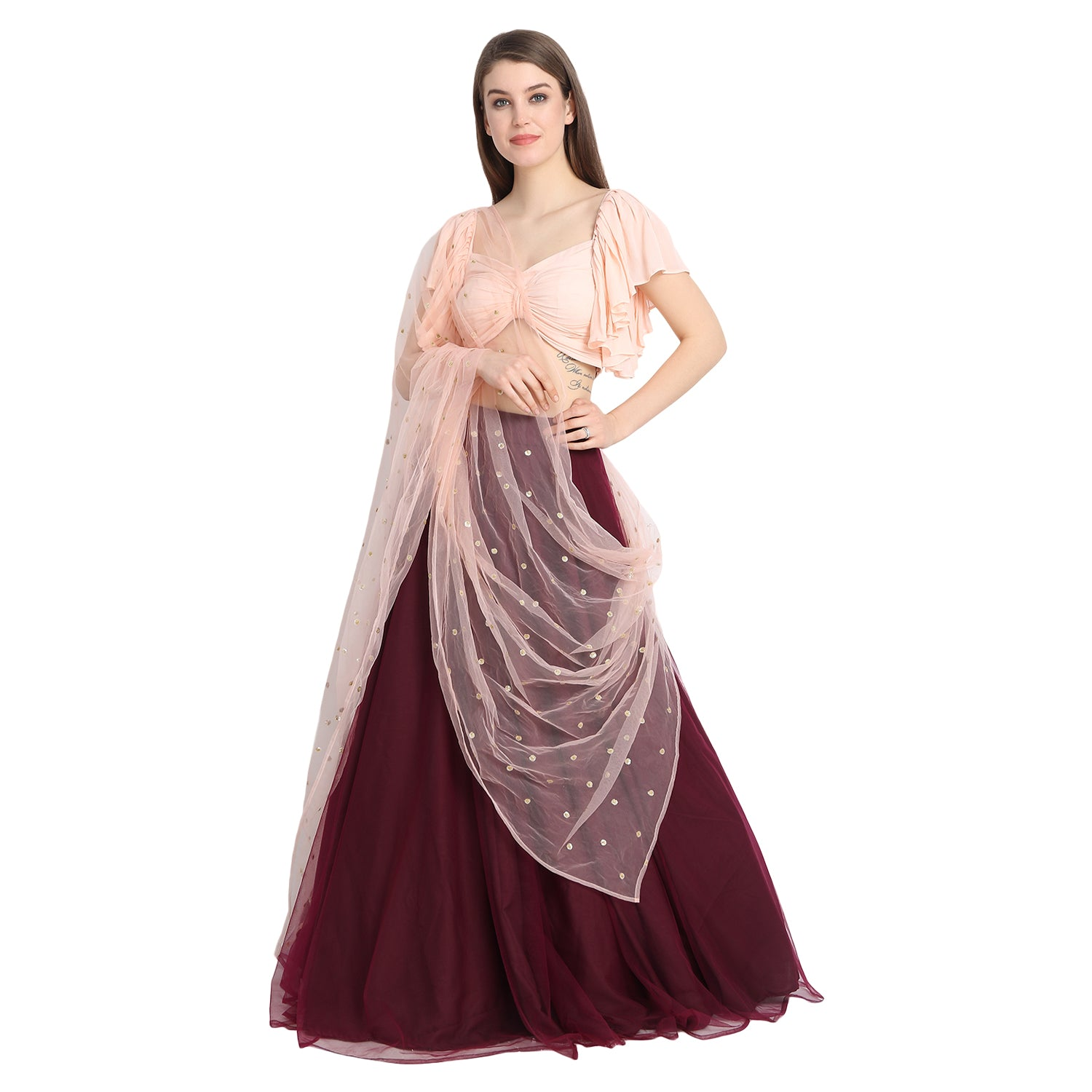 WINE NET LENGHA WITH PEACH FRONT BOW CROP TOP AND CHUNNI