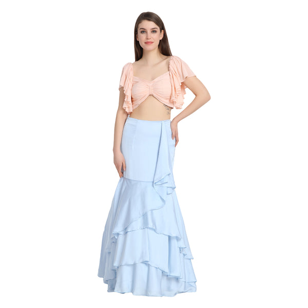 BLUE SATIN LENGHA WITH PEACH FRONT BOW CROP TOP AND CHUNNI