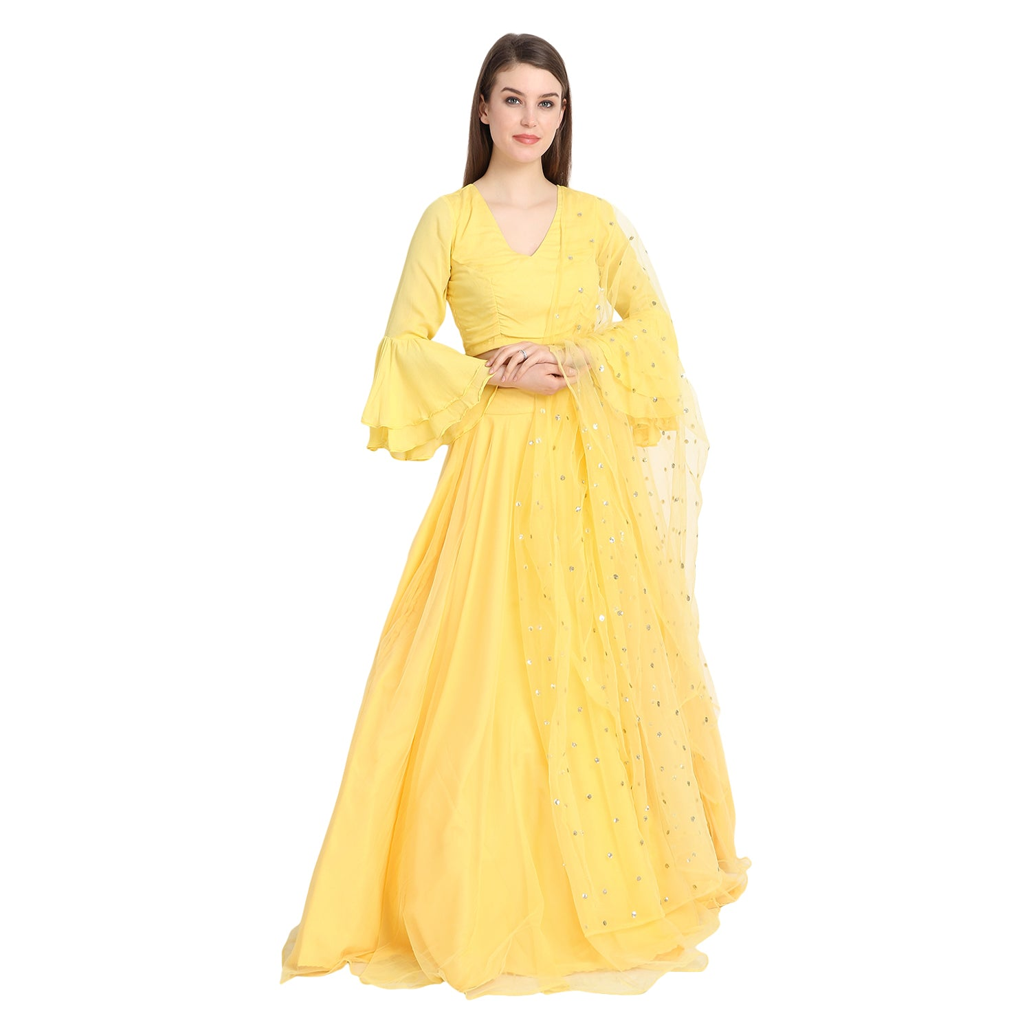 YELLOW NET LENGHA WITH BELL SLEEVES CREPE BLOUSE AND CHUNNI