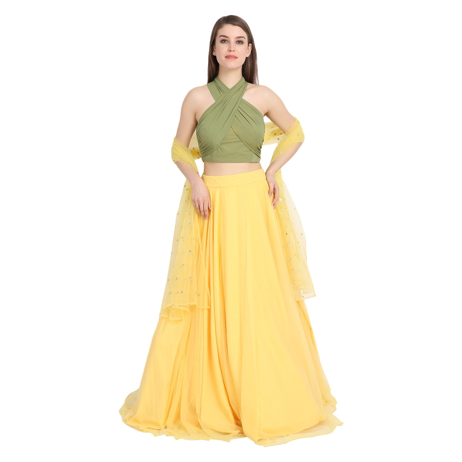 YELLOW NET LENGHA WITH OLIVE GREEN HALTER CROP TOP AND CHUNNI