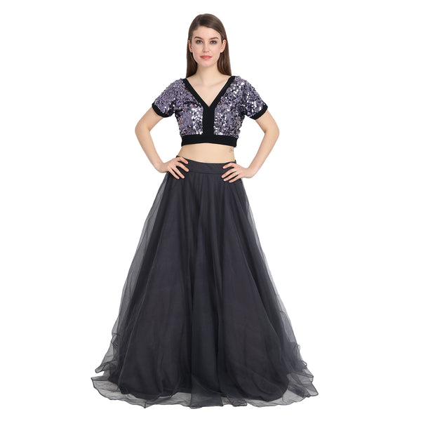 GREY NET LENGHA WITH CRISS CROSS SEQUIN CROP TOP