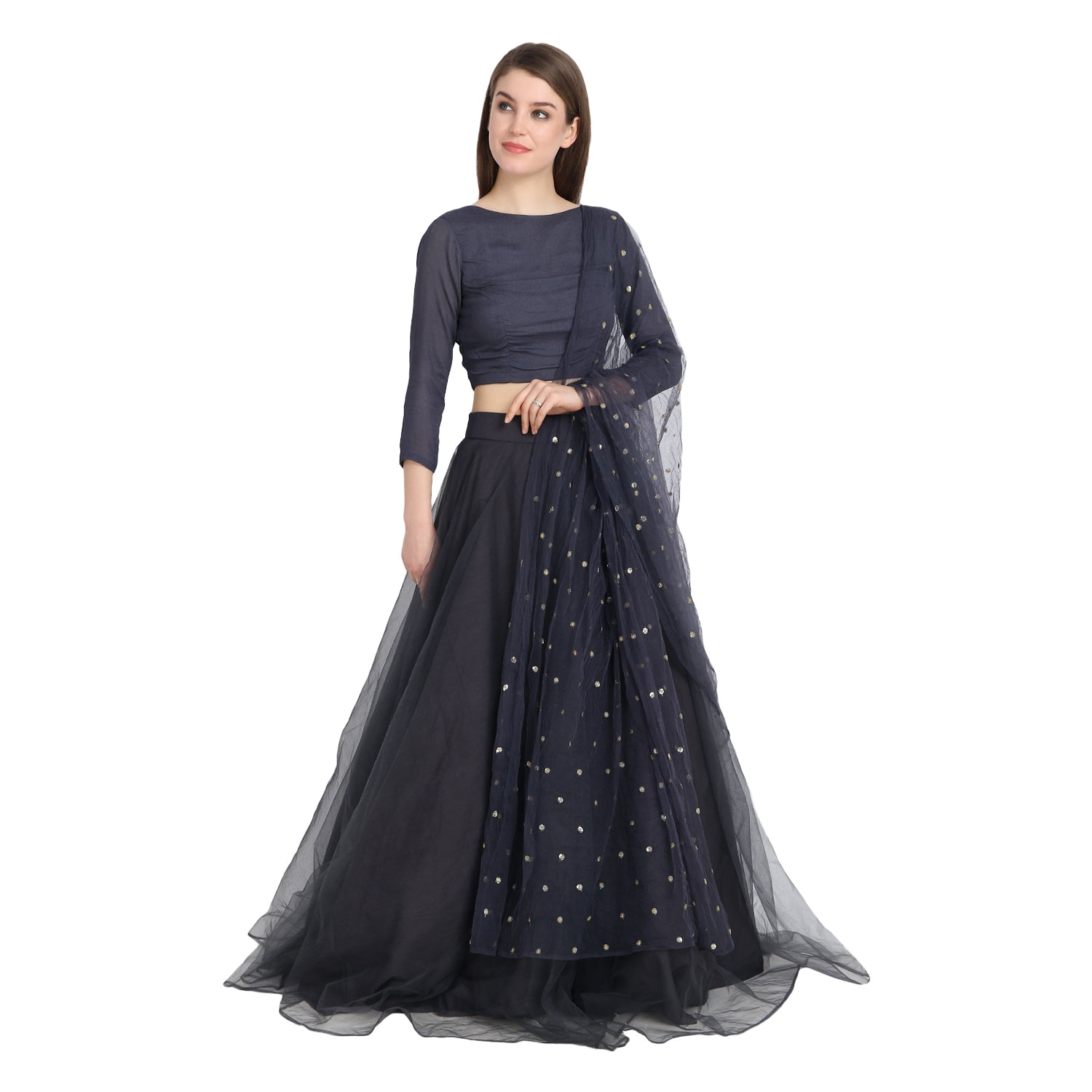 GREY NET LENGHA WITH BACK KNOTFULL SLEEVE BLOUSE AND CHUNNI