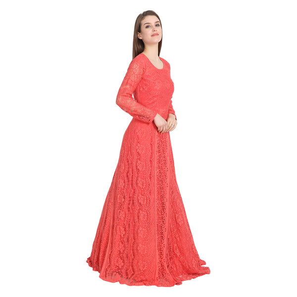 PEACH LACE GOWN