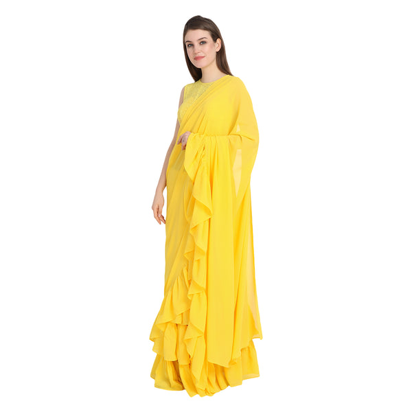 YELLOW RUFFLE SAREE WITH LACE BLOUSE