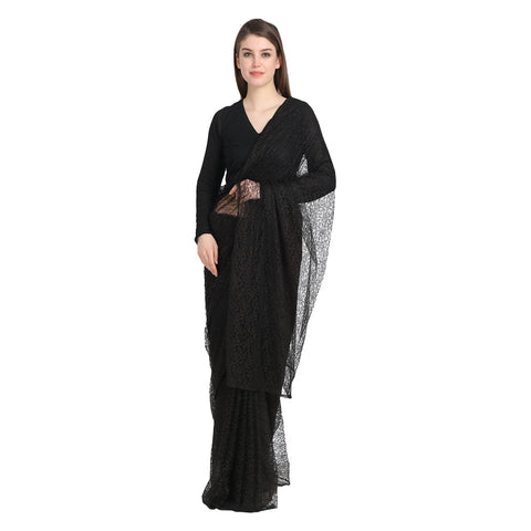 BLACK LACE SAREE WITH BLACK BLOUSE