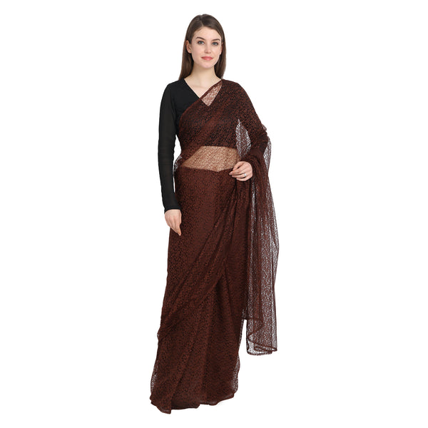 BROWN LACE SAREE WITH BLACK BLOUSE