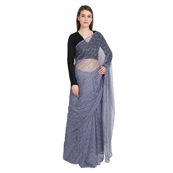 GREY LACE SAREE WITH BLACK BLOUSE