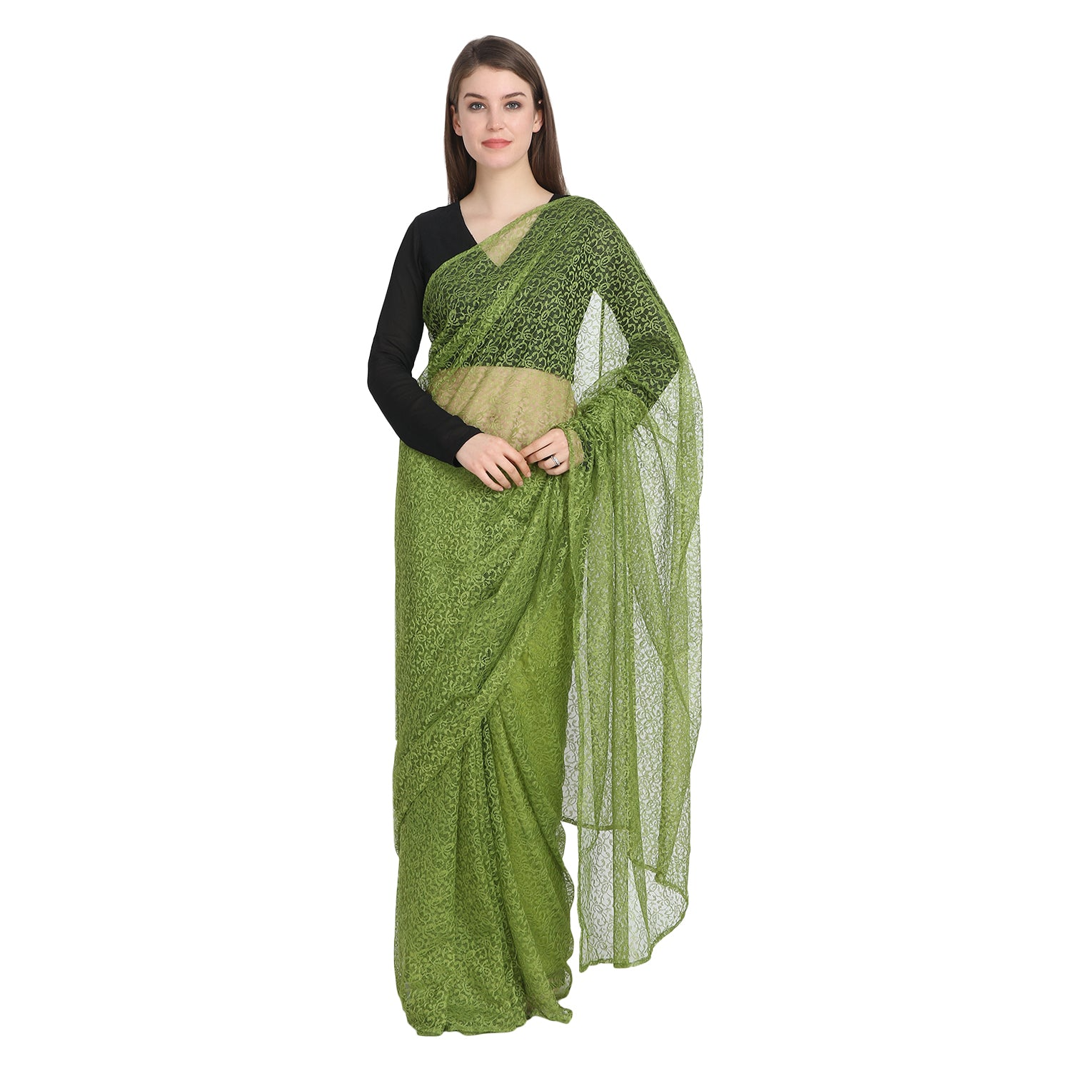 HEENA GREEN BLACK LACE SAREE WITH BLACK BLOUSE