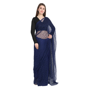 NAVY BLUE LACE SAREE WITH BLACK BLOUSE