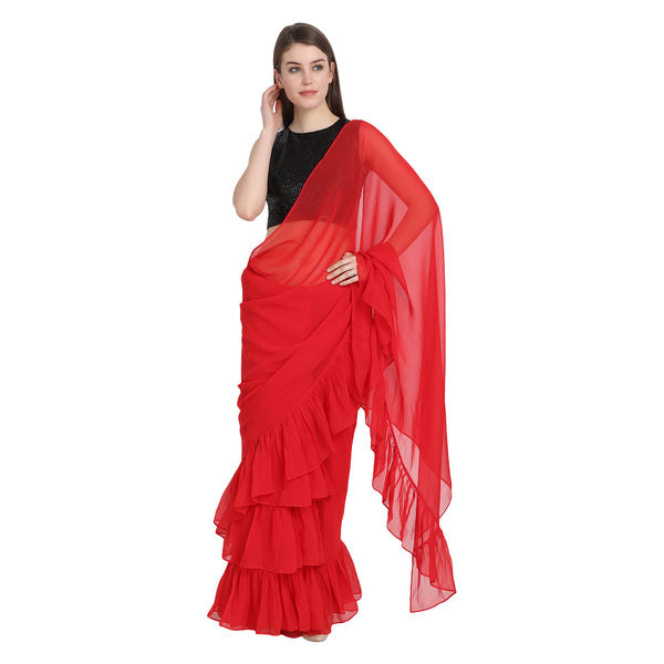 RED RUFFLE SAREE WITH BLACK SEQUIN BLOUSE
