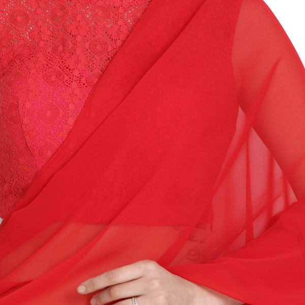 RED RUFFLE SAREE WITH LACE BLOUSE