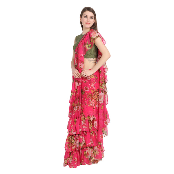 MULTI PRINT RUFFLE SAREE WITH LACE BLOUSE