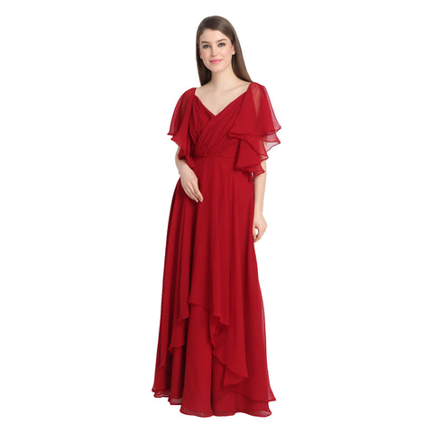 RED RUFFLE GEORGETTE GOWN