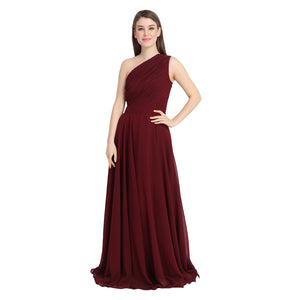 Wine Draped One Shoulder Maxi Dress