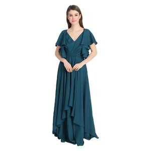 TEAL GREEN RUFFLE GEORGETTE GOWN