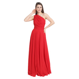 Red Draped One Shoulder Maxi Dress
