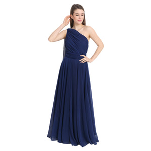 Navy Blue Drape One Shoulder Maxi Dress