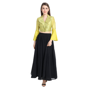 YELLOW TOP WITH BLACK GEORGETTE SKIRT