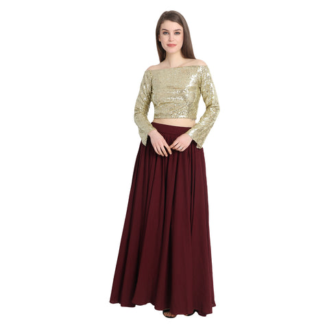 OFF SHOULDER GOLDEN SEQUIN CROP TOP AND WINE GEORGETTE SKIRT