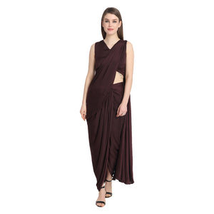WINE DRAPE SAREE WITH WINE BLOUSE