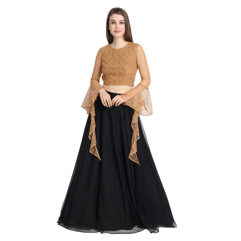 BLACK NET LENGHA WITH NUDE LACE CROP TOP