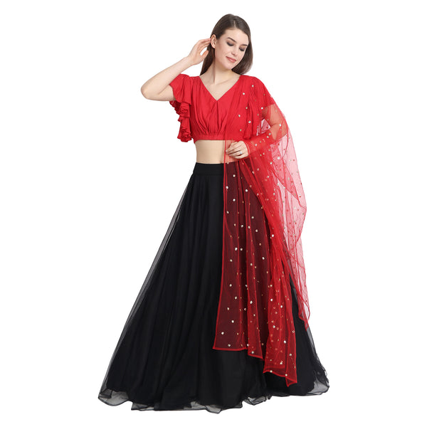 BLACK NET LENGHA WITH RED RUFFLED SLEEVES CROP TOP AND CHUNNI