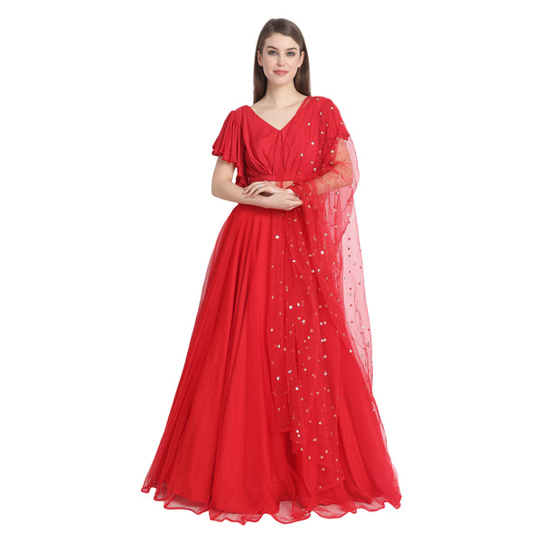 RED NET LENGHA WITH RED RUFFLE SLEEVE CROP TOP AND CUNNI