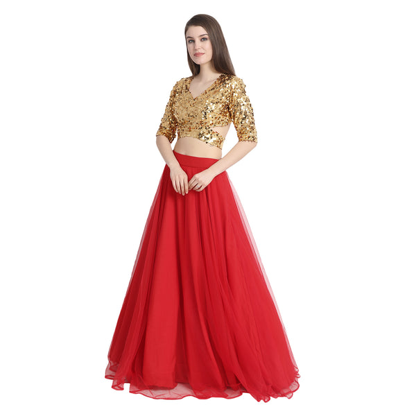 RED NET LENGHA WITH GOLDEN SEQUIN CROP TOP AND CHUNNI