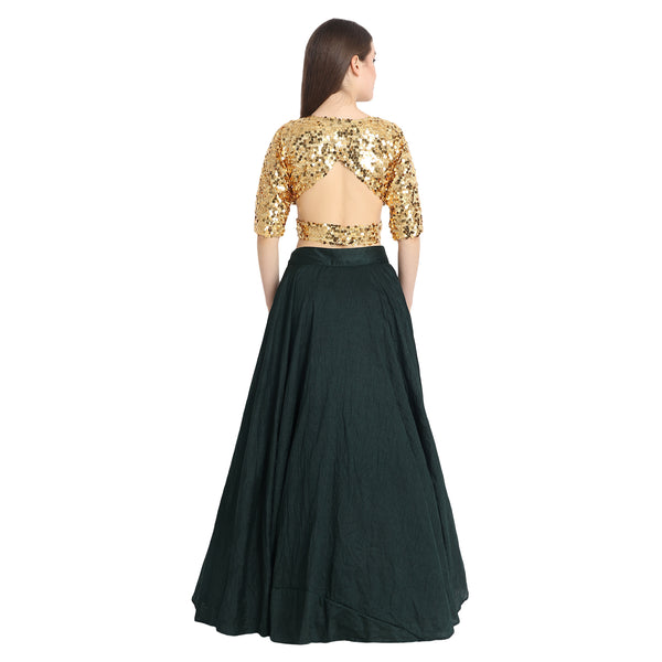GREEN SILK LENGHA WITH GOLDEN SEQUIN CROP TOP