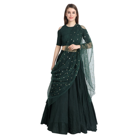 GREEN SILK LENGHA WITH COLD SHOULDER CREPE BLOUSE AND CHUNNI