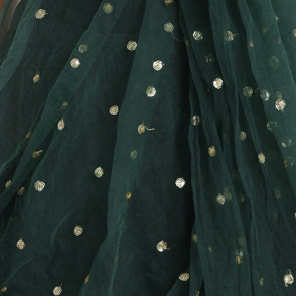 GREEN SILK LENGHA WITH RED RUFFLE SLEEVE CROP TOP AND CHUNNI