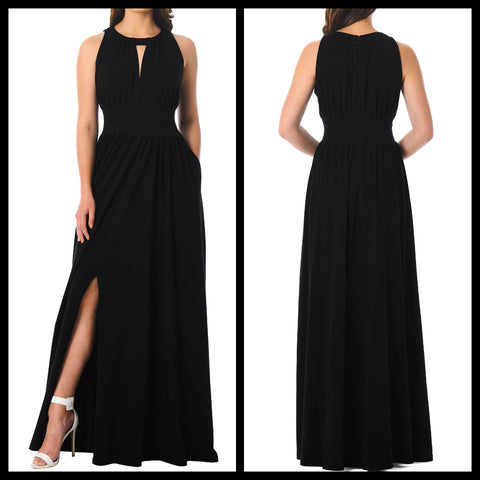 Black Keyhole Slit Maxi Dress