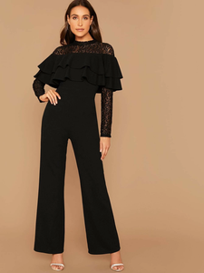 Lace Yoke Layered Flounce Wide Leg Jumpsuit