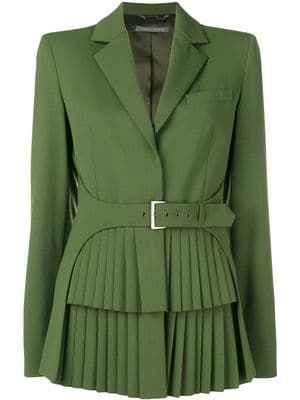 Olive Green Pleated Collared Coat Dress with Belt