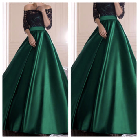 Green Satin and Black Lace Tube Ballroom Gown