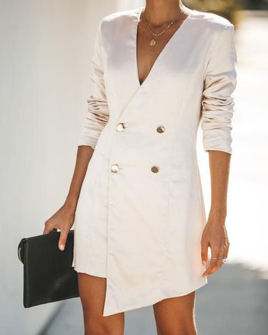 White Double Breasted Coat Dress