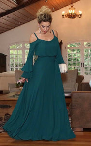 Green Cold Shoulder Flared Sleeve Maxi Dress