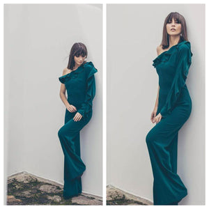 Bottle Green One Shoulder One Sleeve Ruffle Jumpsuit