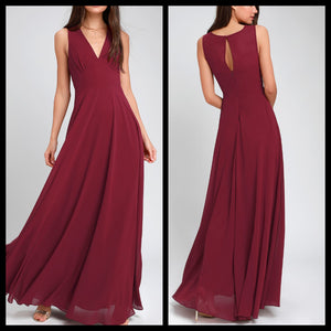 V Neck Wine Maxi Dress