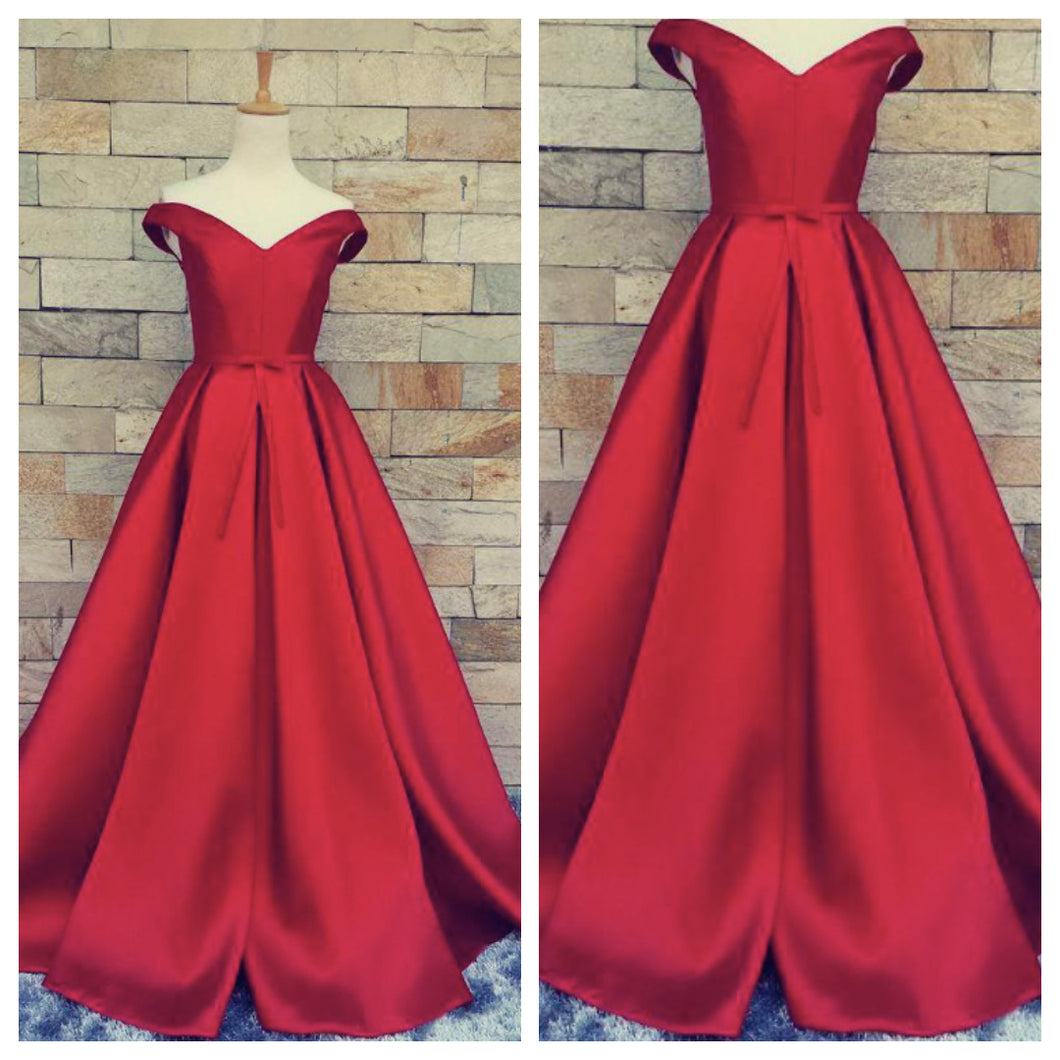 Red Satin Off Shoulder Dress