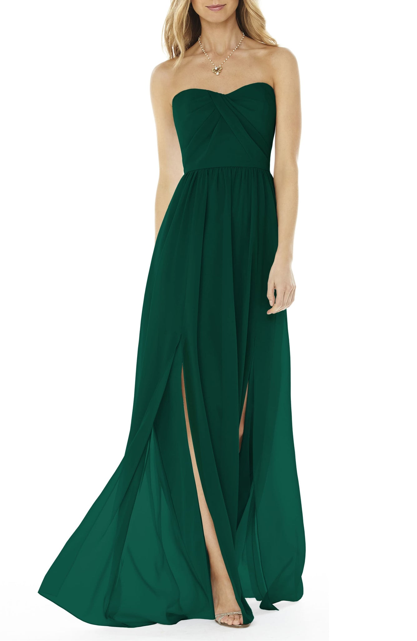 Strapless Green Georgette Gown