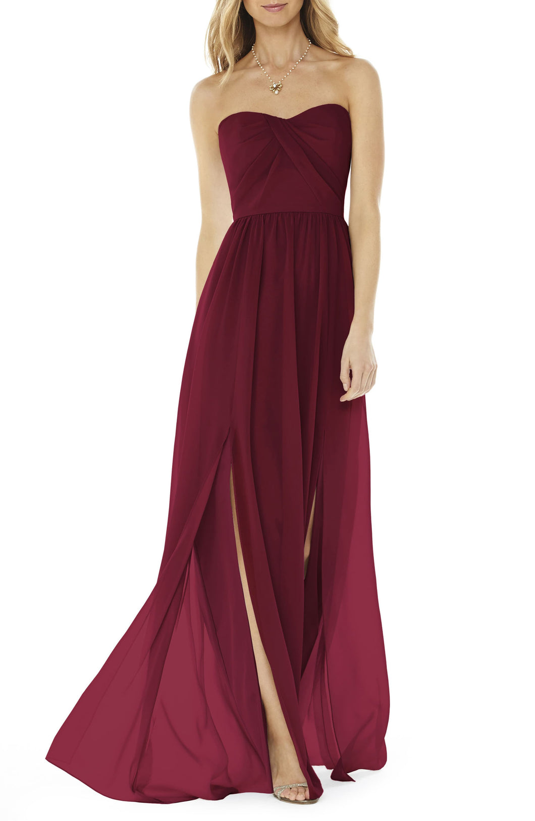Strapless Burgundy Georgette Gown